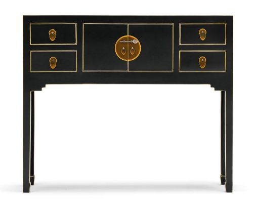 Black and Gilt Small Console Table